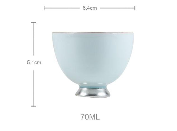 Blue Celadon Ceramic and Pure Silver Cup * 70ml