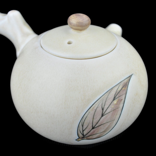 Tree Branch Beige-White Ceramic Kyusu Teapot * 210ml
