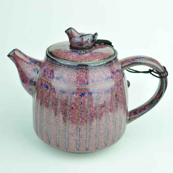 Large Purple Blue Glazed Ceramic Teapot * 340ml