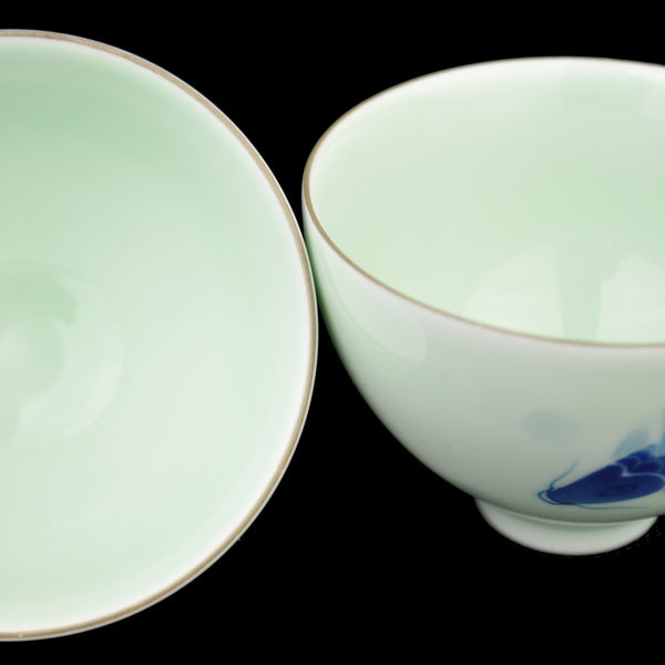 "Jade Porcelain ""Koi Frolicking"" Cups * Set of 2 * 85ml"