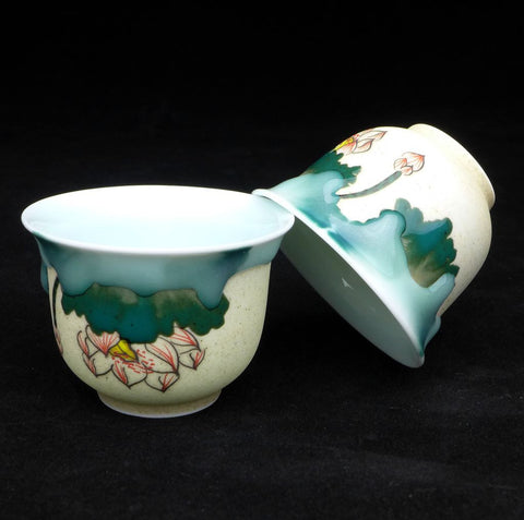Glazed Porcelain Lotus Tea Cups from Jingdezhen * 75ml each * Set of 2