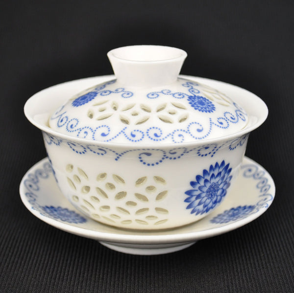 Traditional Blue and White Rice Grain Porcelain Gaiwan