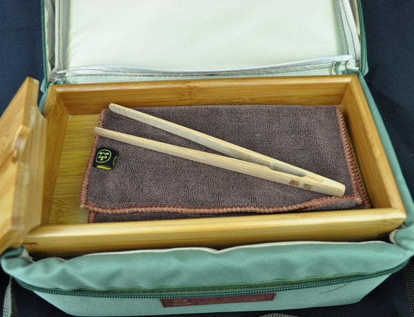 Travel Tea Set and Bamboo Tea Tray * 4 Person Service
