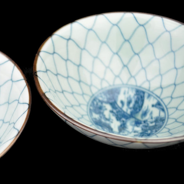 "Blue on White ""Victorian"" Porcelain Cups from Jingdezhen * Set of 2"