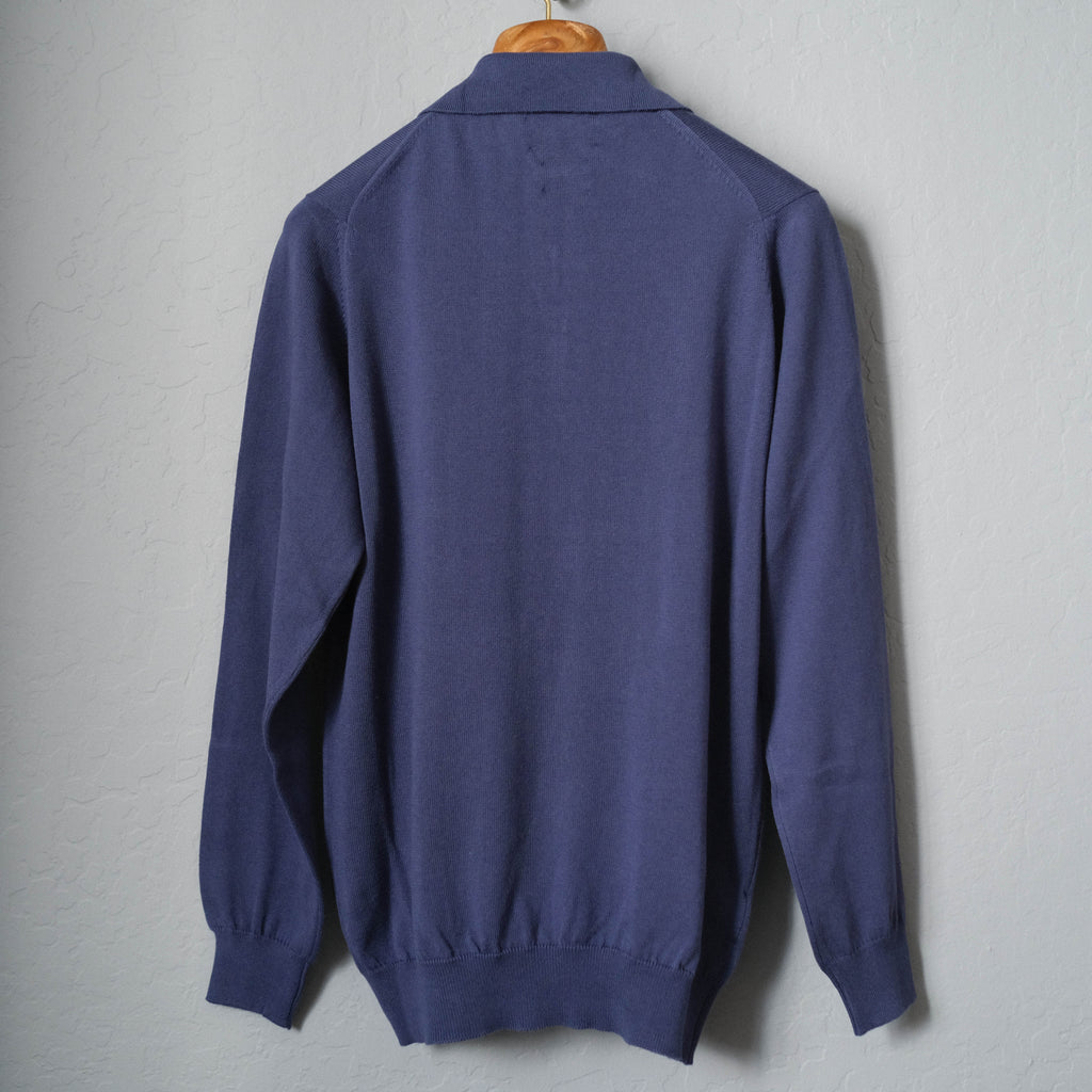 Brogue Cotton Long Sleeve Polo (Royal Blue)