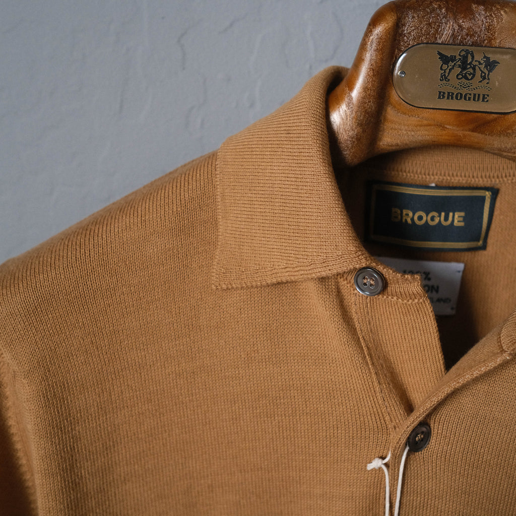 Brogue Cotton Long Sleeve Polo (Brown)