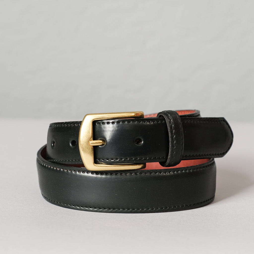 Alden Black Shell Cordovan Belt (Brass Buckle)