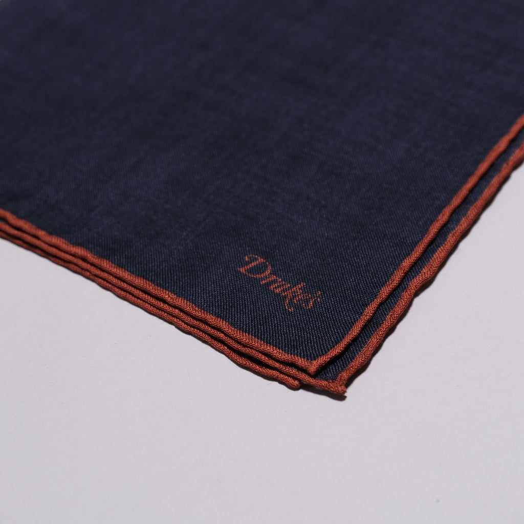 Drake's Navy and Rust Shoestring Border Wool-Silk Pocket Square