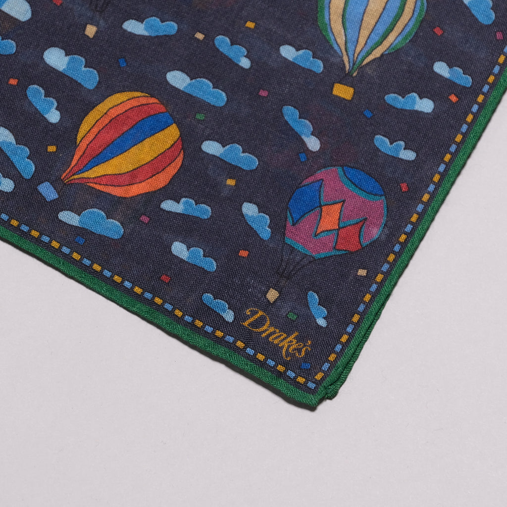 Drake's Navy Hot Air Balloon Print Wool-Silk Pocket Square