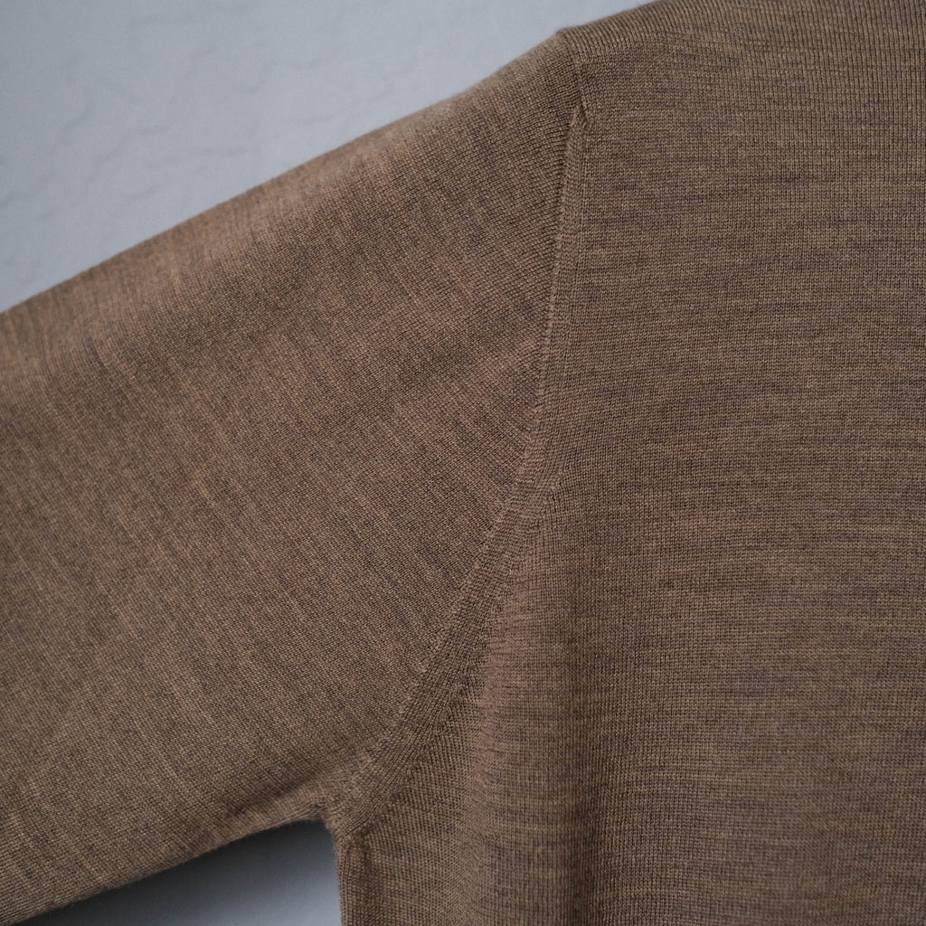 Brogue Superfine Merino Wool Long Sleeve Polo (Smoke Brown)