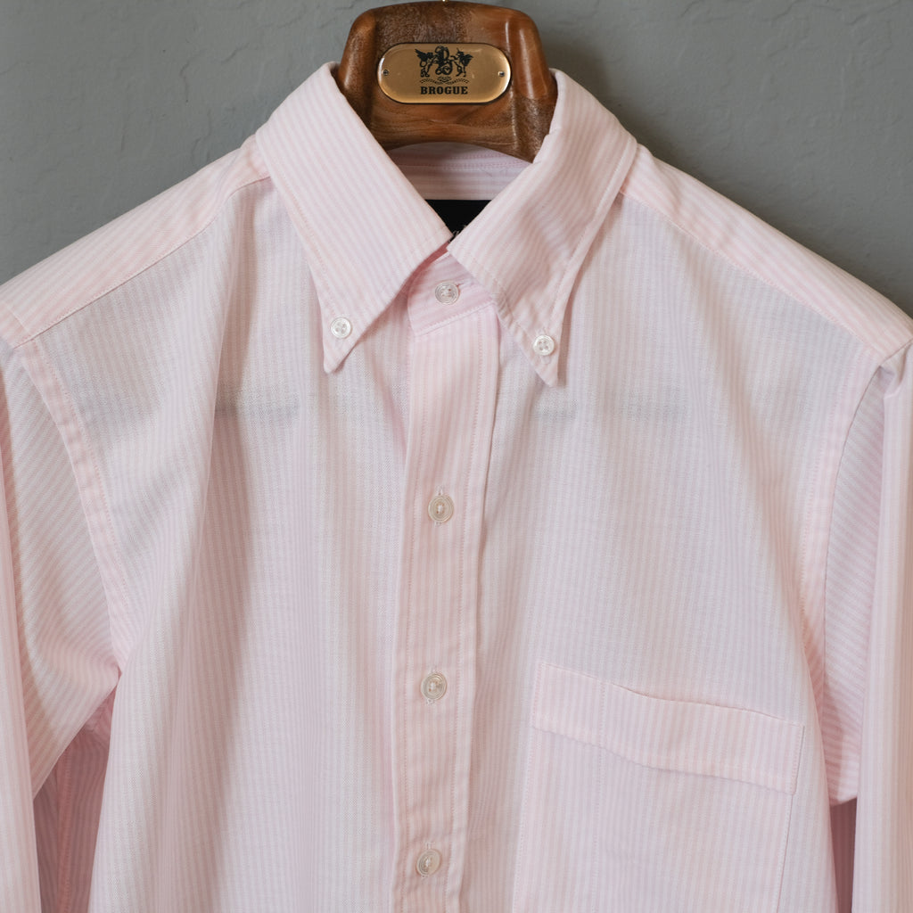 Drake's Pink Ticking Stripe Regular Fit Shirt with Button Down Collar