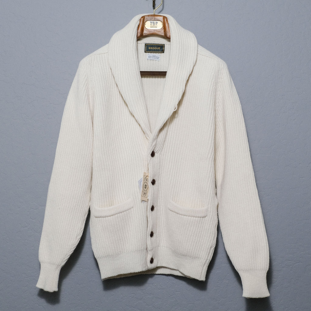 Brogue Lambswool Shawl Collar Cardigan (Ecru)