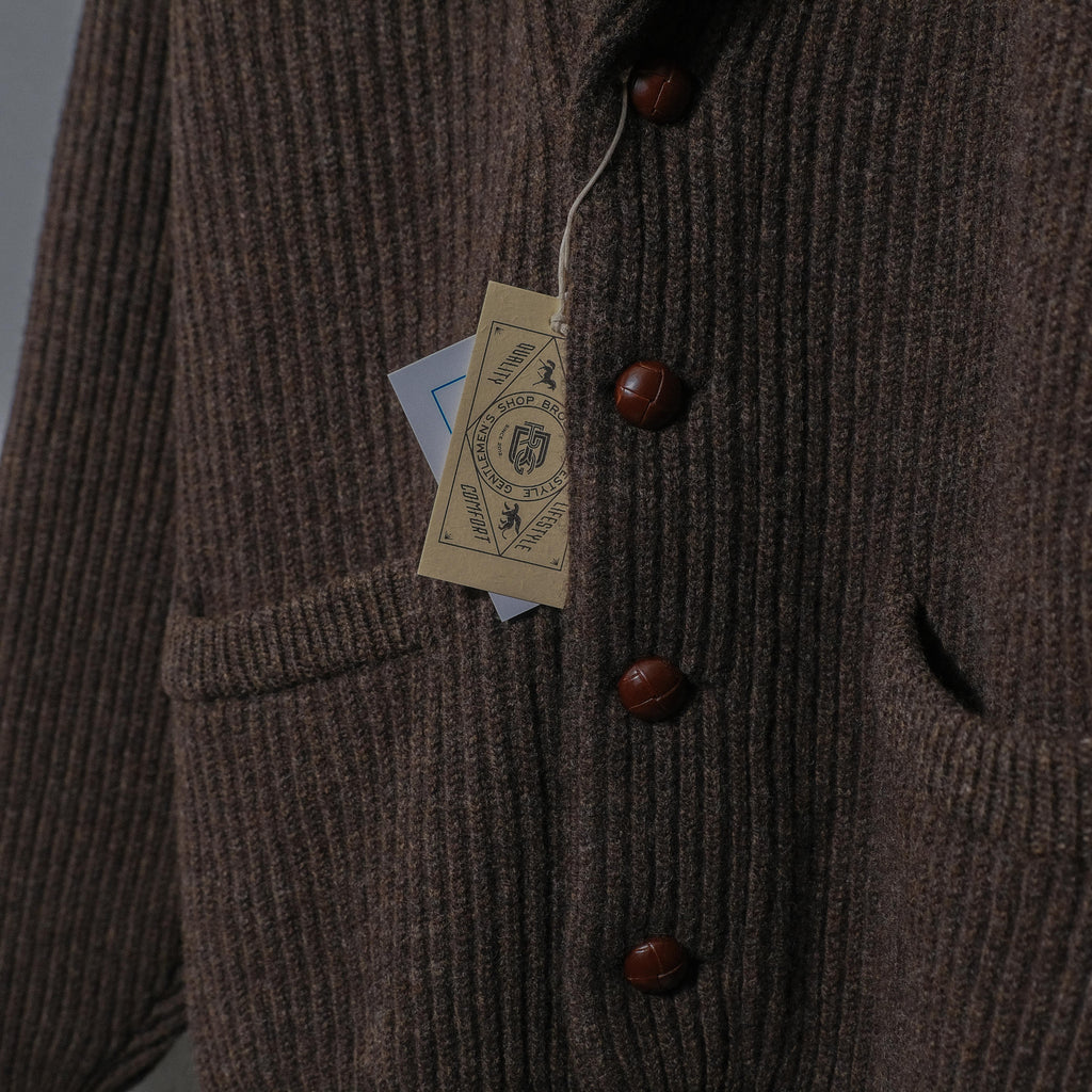 Brogue Lambswool Shawl Collar Cardigan (Cocoa)