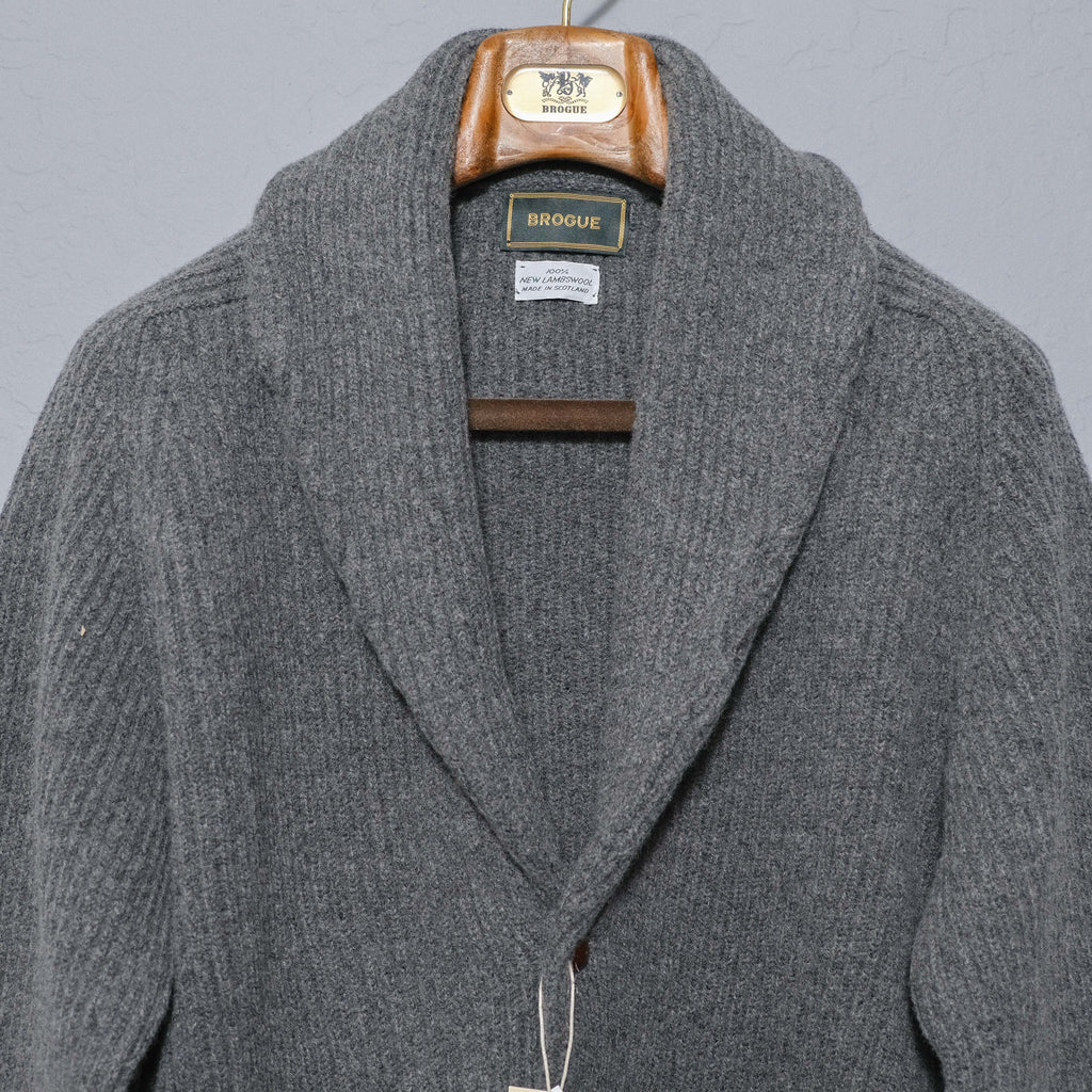 Brogue Lambswool Shawl Collar Cardigan (Grey)