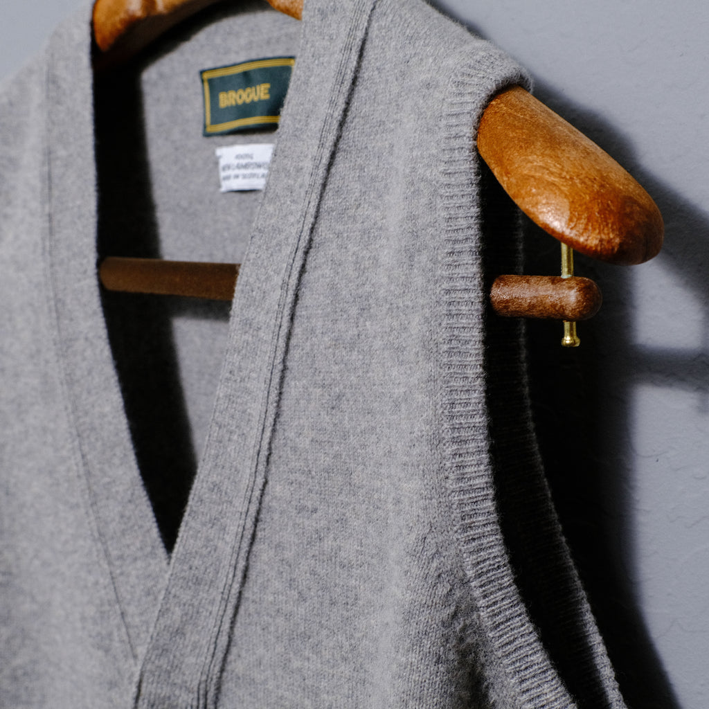 Brogue Lambswool Waistcoat (Light Grey)