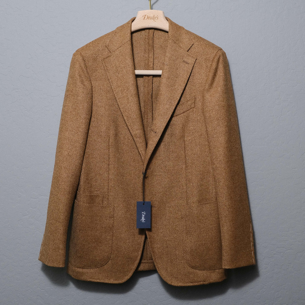 Drake's Wheat Herringbone Wool Tweed Jacket