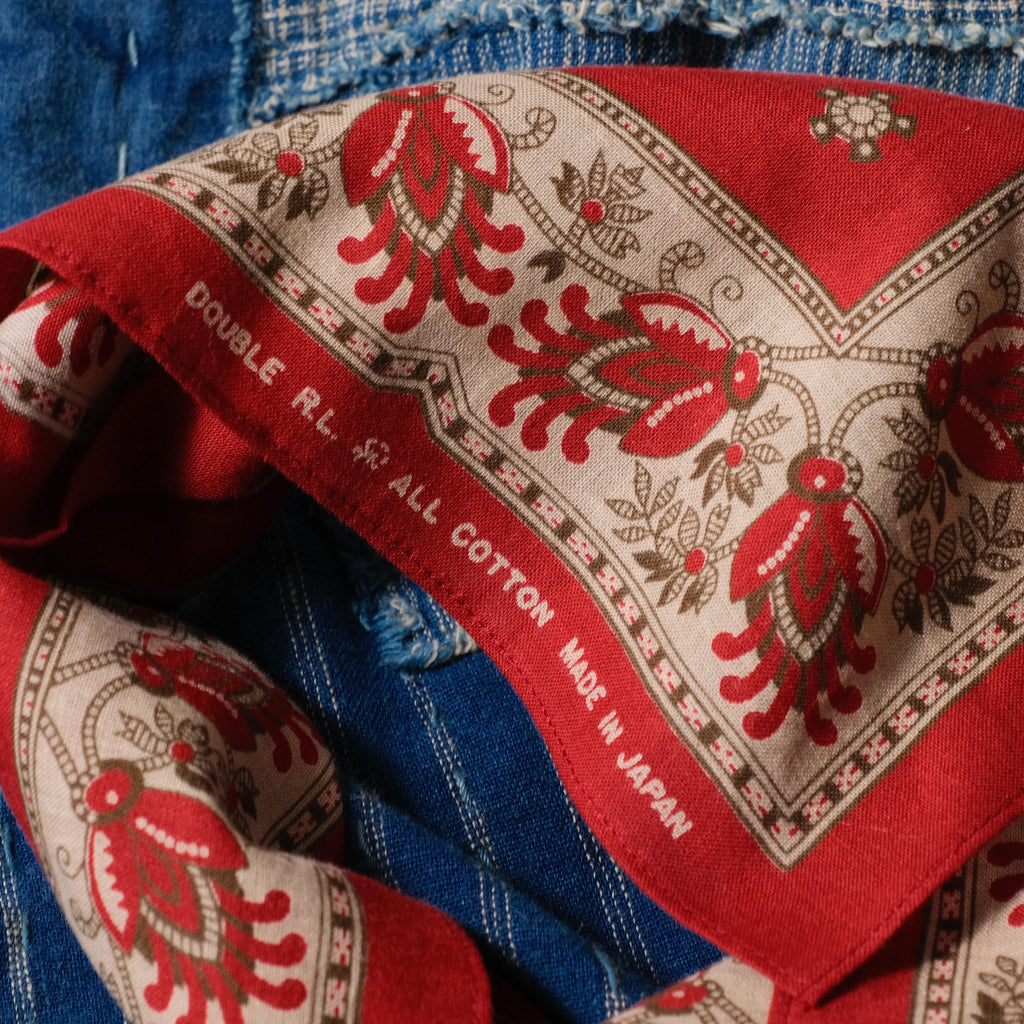 RRL Logo-Print Cotton Bandanna ( Red )