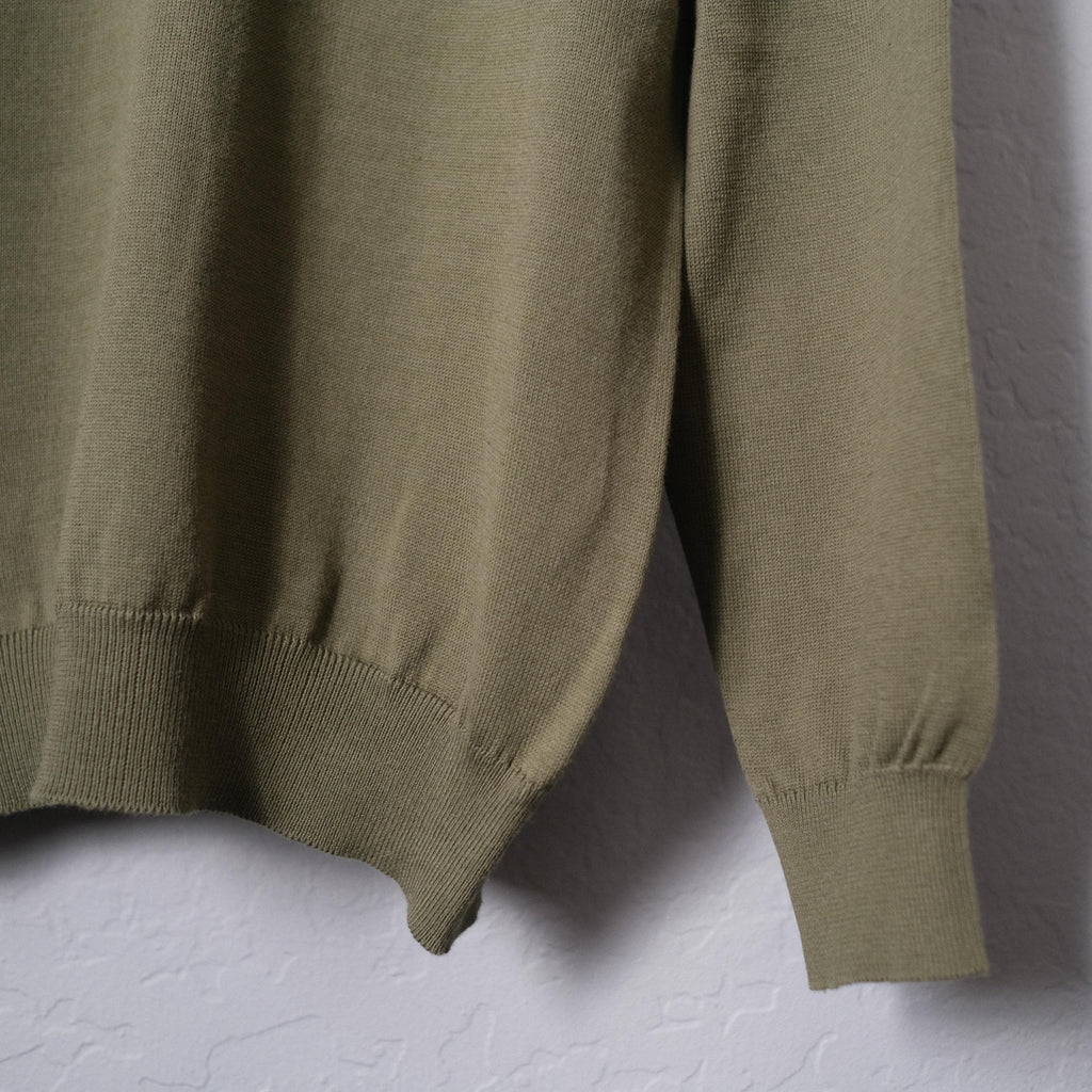 Brogue Cotton Long Sleeve Polo (Olive Green)