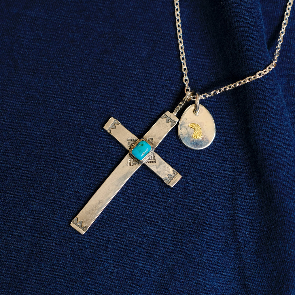 Larry Smith Turquoise Cross Necklace
