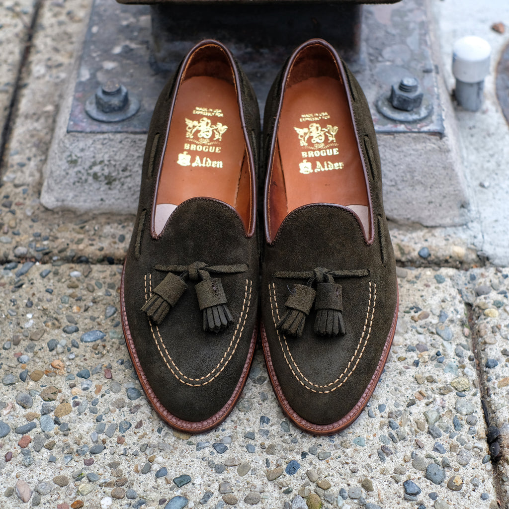 Alden x Brogue Forest Green Tassel Loafer