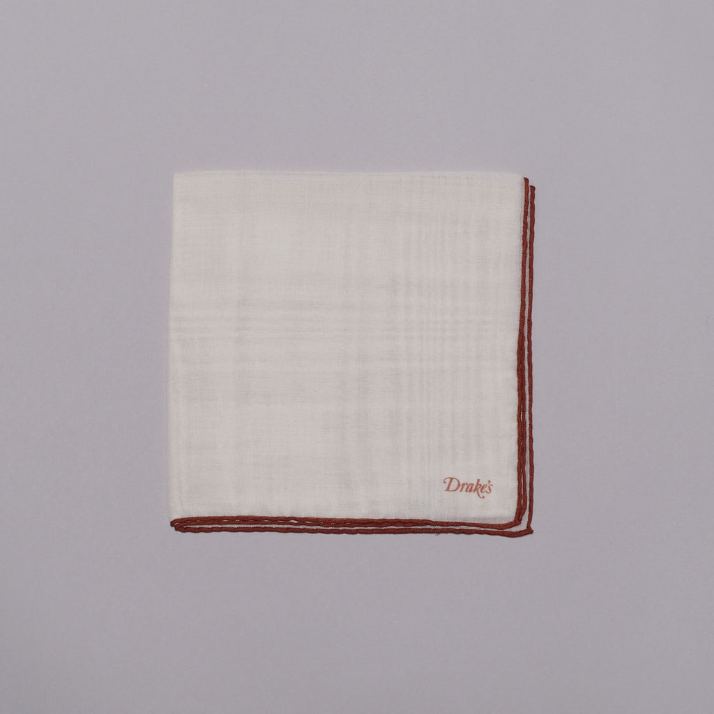 Drake's Ecru and Rust Shoestring Border Wool-Silk Pocket Square