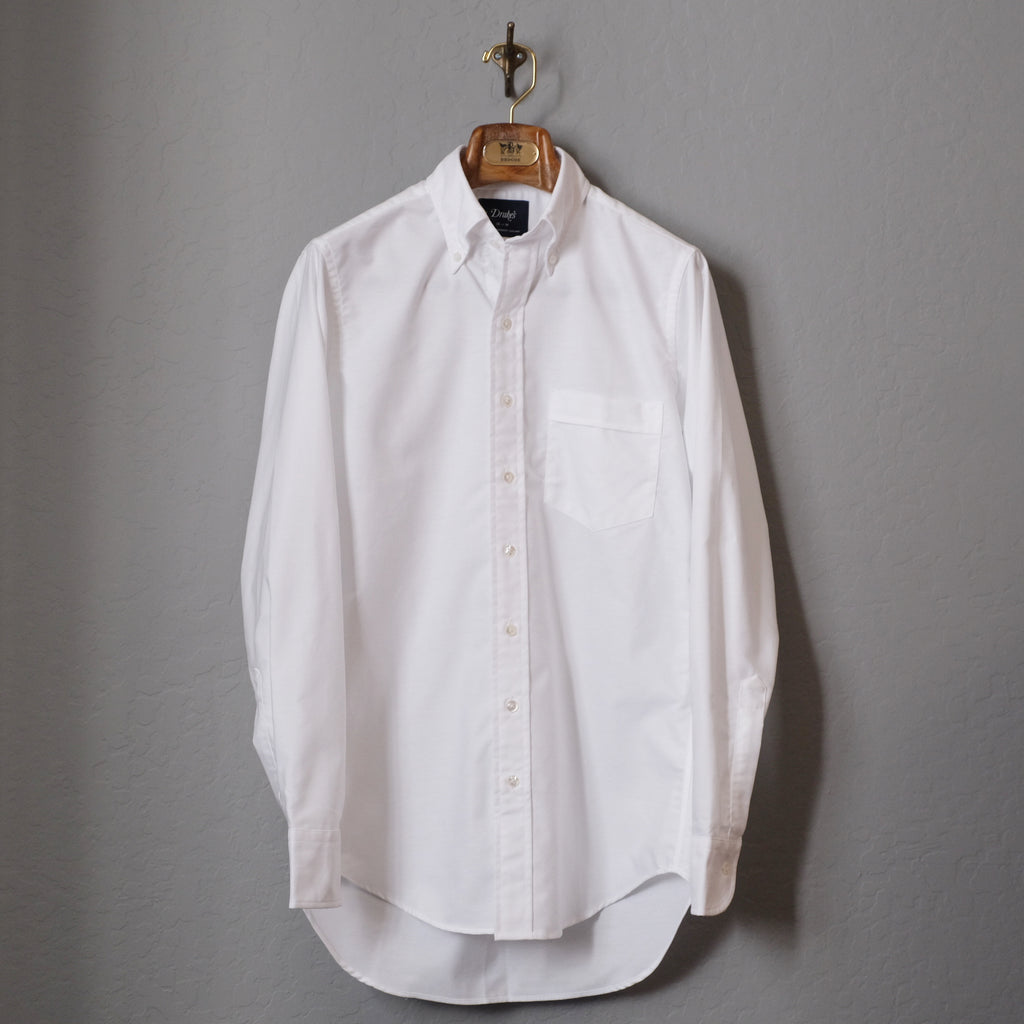 Drake's White Oxford Regular Fit Shirt with Button Down Collar