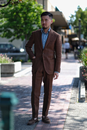 RING JACKET Tobacco Linen Suit