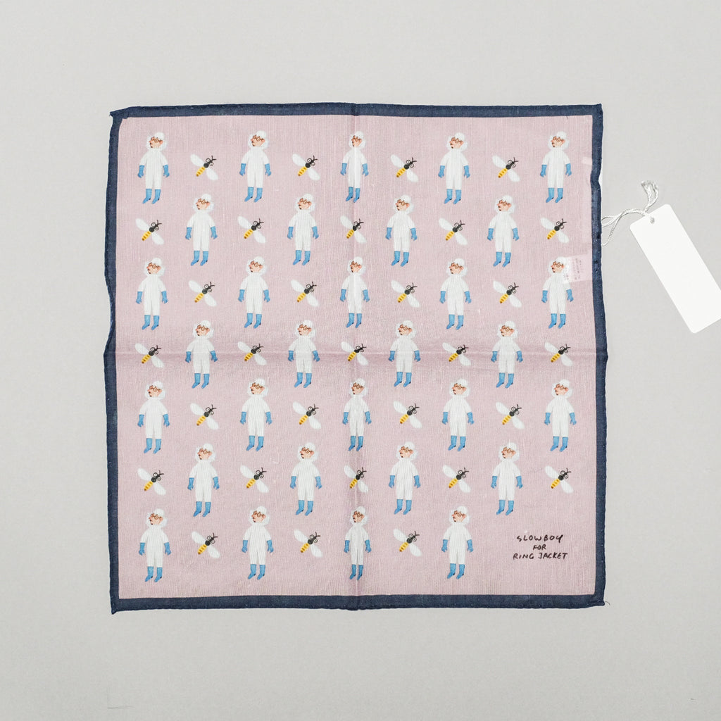 SLOWBOY X RING JACKET BEEKEEPER POCKET SQUARE - PINK/NAVY