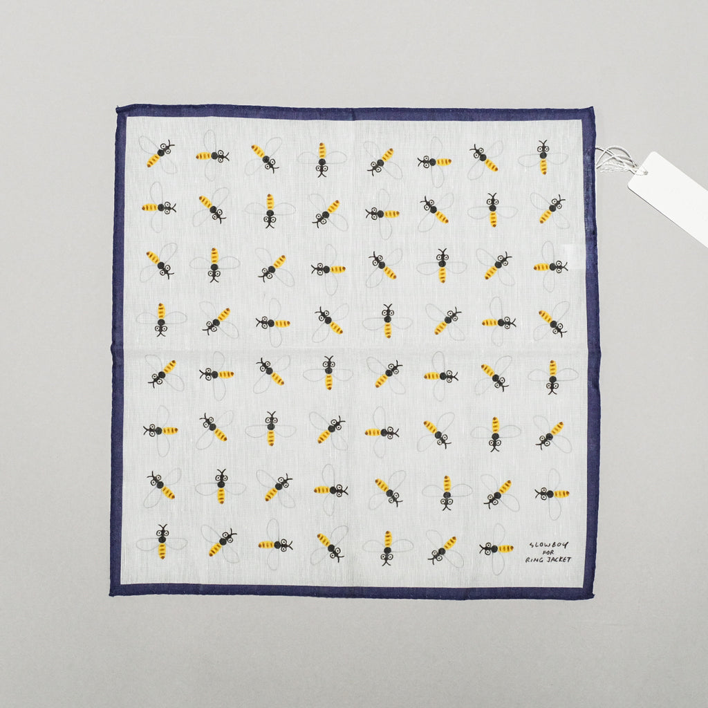 SLOWBOY X RING JACKET BEES POCKET SQUARE - ECRU/NAVY