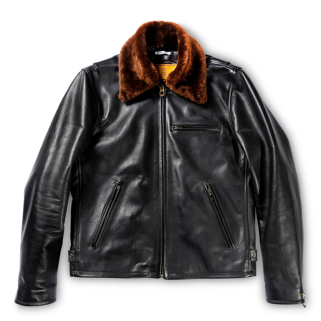 "Shangri-La Heritage ""VARENNE"" FUR COLLAR BLACK LEATHER JACKET"