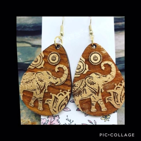 Stained and Waxed Aspen Wood Elephant Earrings