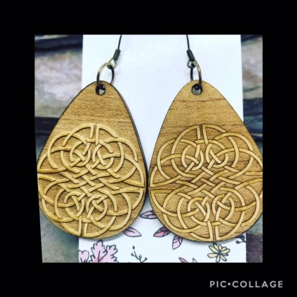 Aspen Wood Drops Burned with Celtic Knot Motif