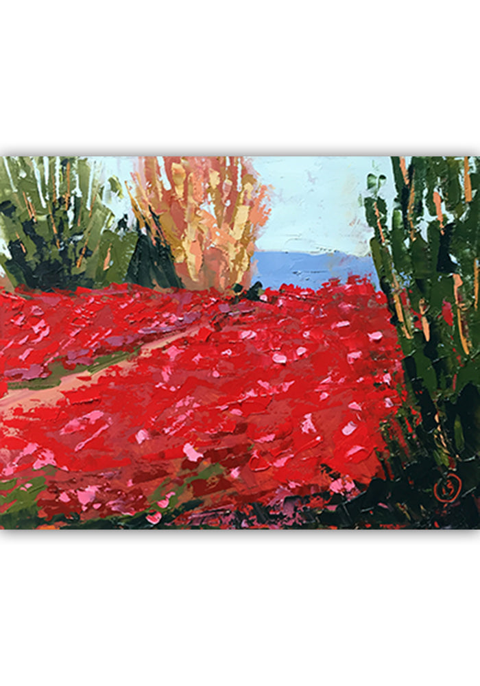 "Field of Red 14""x11"""
