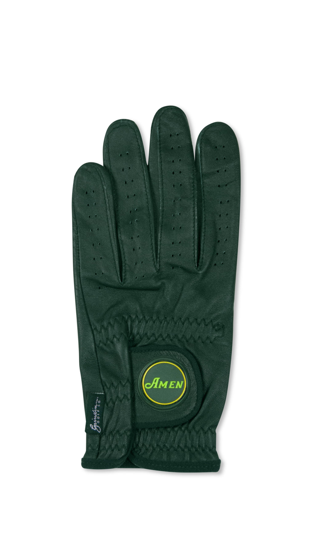 Amen Logo - Green Cabretta Leather Golf Glove