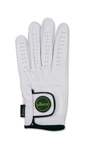 Amen Logo -  White Cabretta Leather Golf Glove