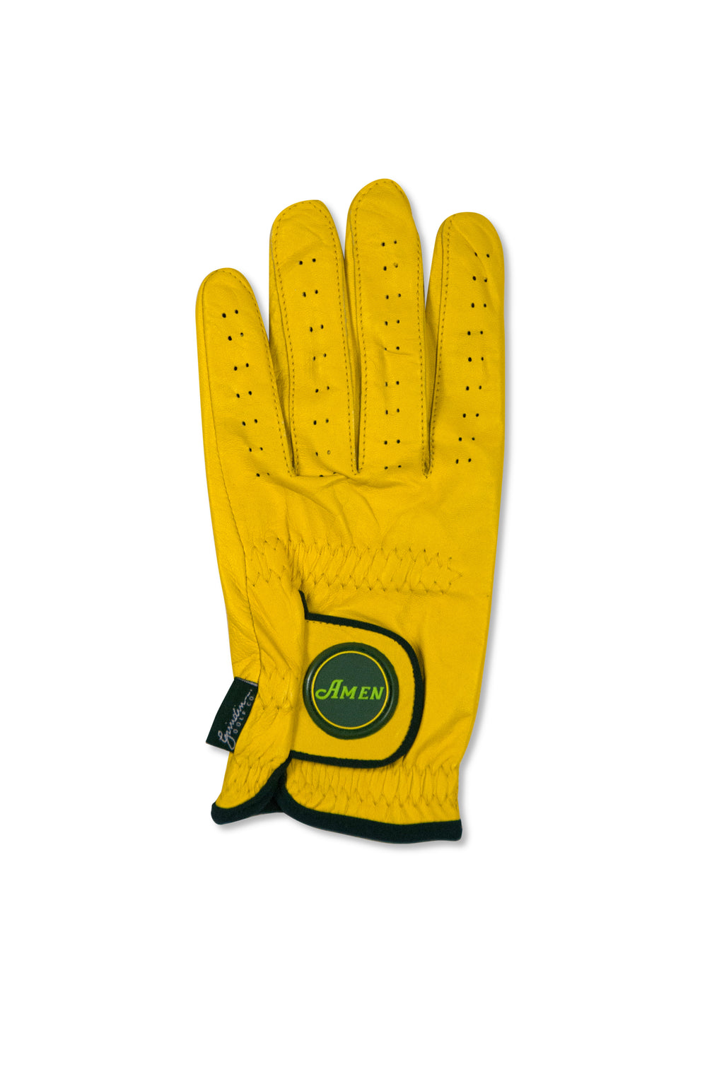Amen Logo - Yellow Cabretta Leather Golf Glove