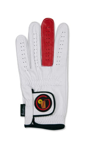 "Circle Tea ""Get Birdies"" - White Cabretta Leather Golf Glove with a solid red ""BIRDIE"" finger."