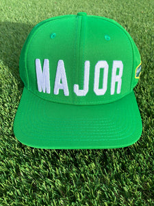 "Green Flat Bill ""MAJOR"" Hat Nylon Blend Solid Back Snapback"