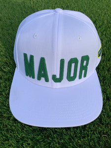 "White Flat Bill ""MAJOR"" Hat Nylon Blend Solid Back Snapback"