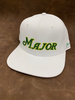 White Flat Bill MAJOR Script Solid Back Hat