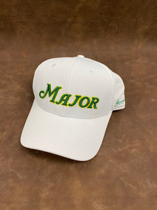 White Curved Bill MAJOR Script Solid Back Hat