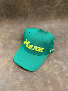 Green Curved Bill MAJOR Script Solid Back Hat