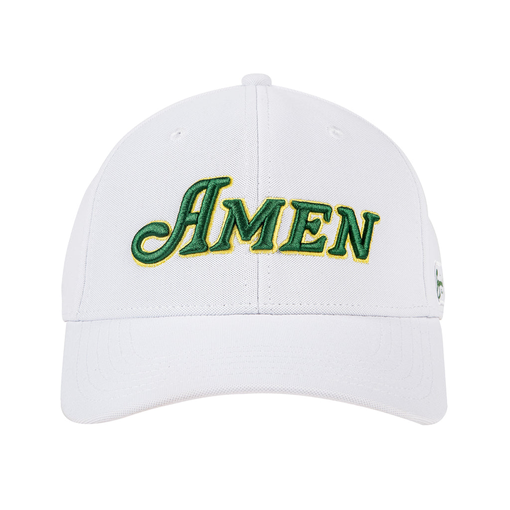 White Curved Bill Amen Mesh Hat