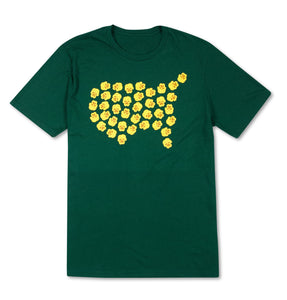 Yellow Pansies Flowerbed T-Shirt - Green