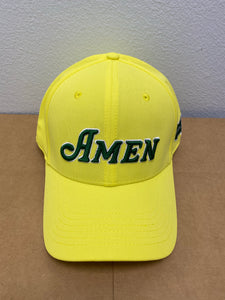 Yellow Curved Bill Amen Solid Back Hat