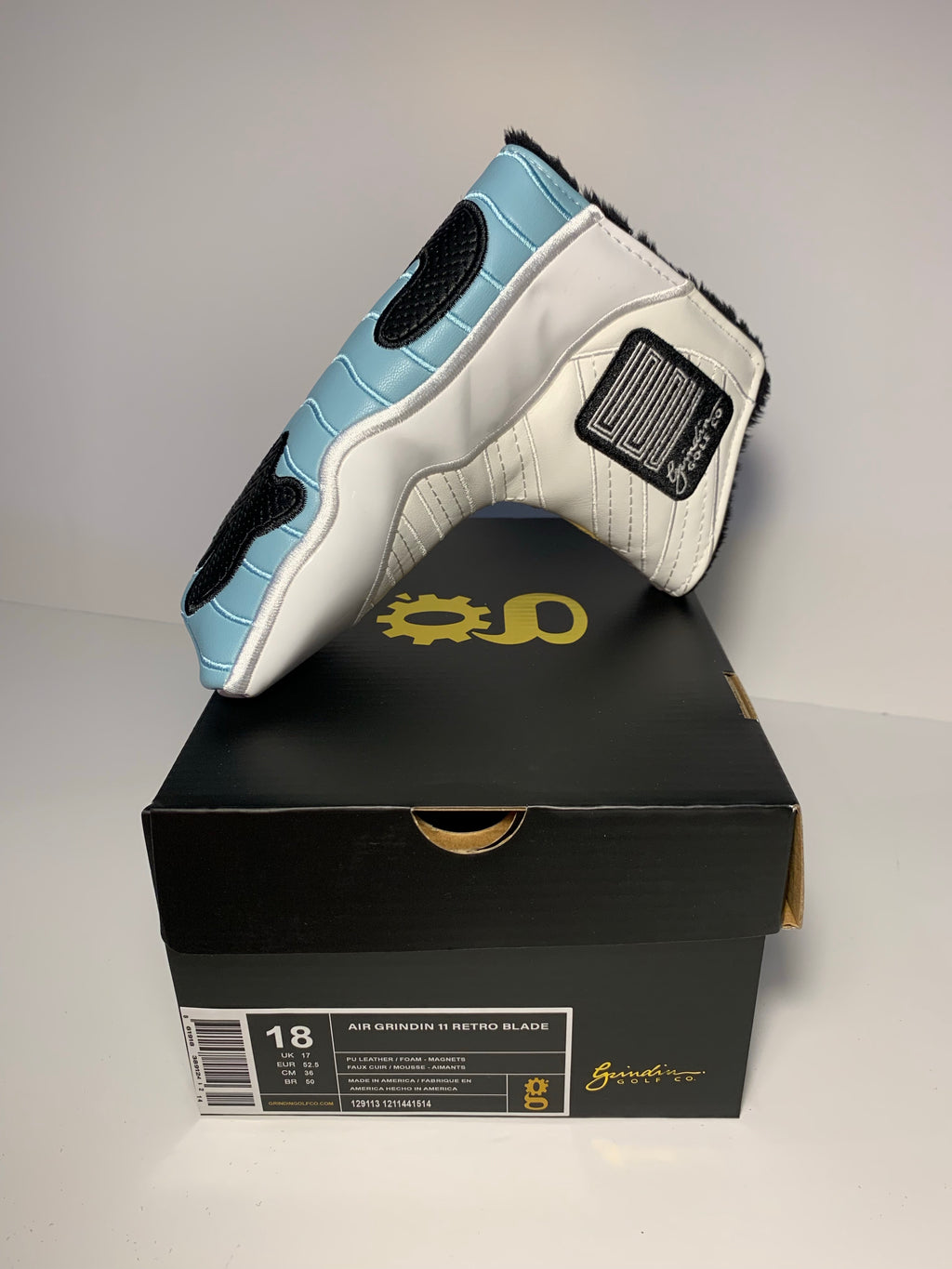 MJ Patent Leather XI Blade Putter Cover - Carolina Blue
