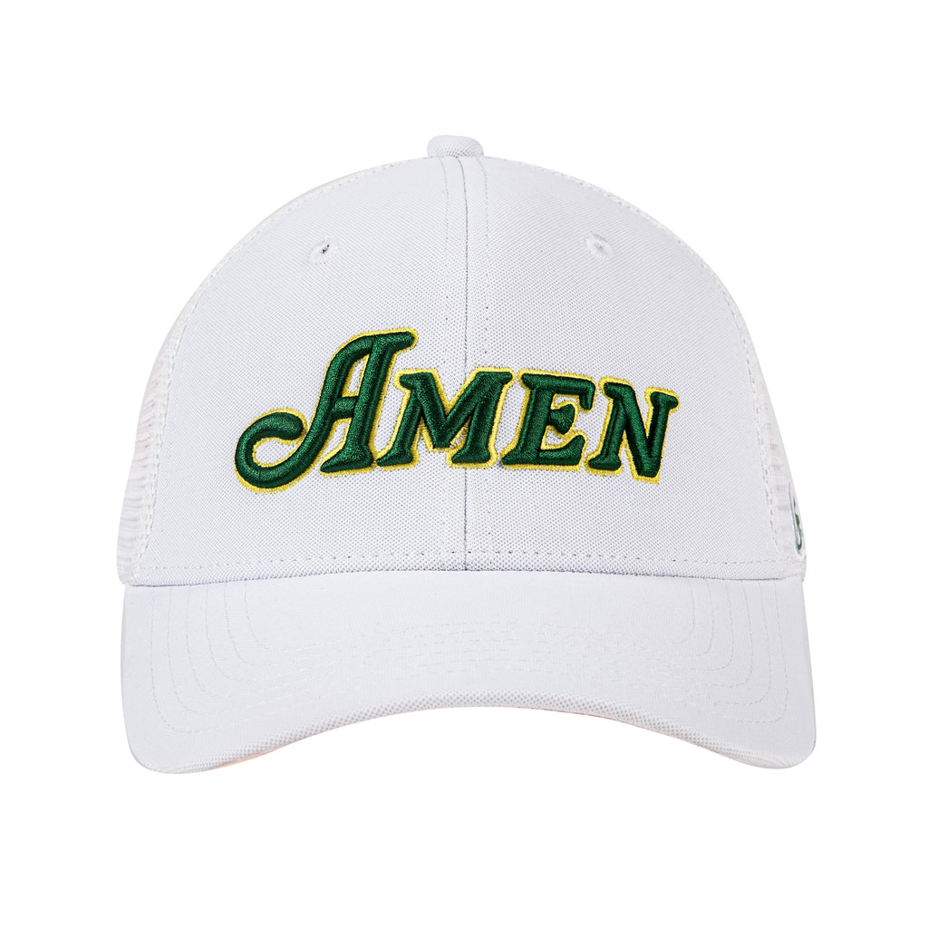 White Curved Bill Amen Hat Nylon Blend Solid Back Snapback