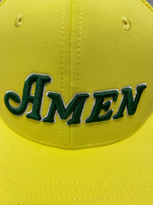 Yellow Flat Bill Amen Mesh Back Hat