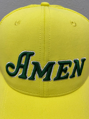 Yellow Curved Bill Amen Mesh Back Hat