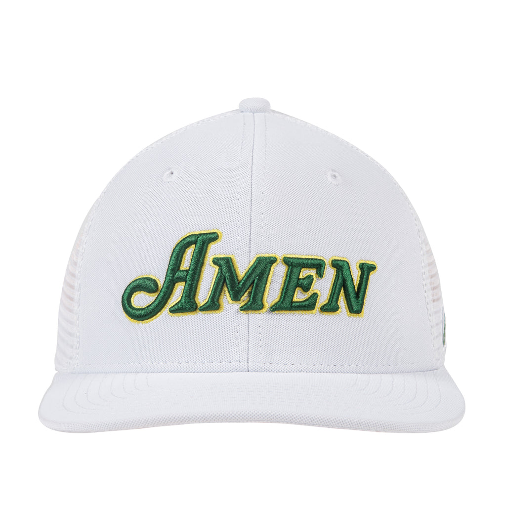White Flat Bill Amen Hat Nylon Blend Solid Back Snapback